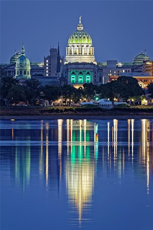 Image of the Harrisburg Capital building from the Susquehanna River